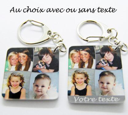 Porte-clés avec 4 photos pèle mêle personnalisé agda photo