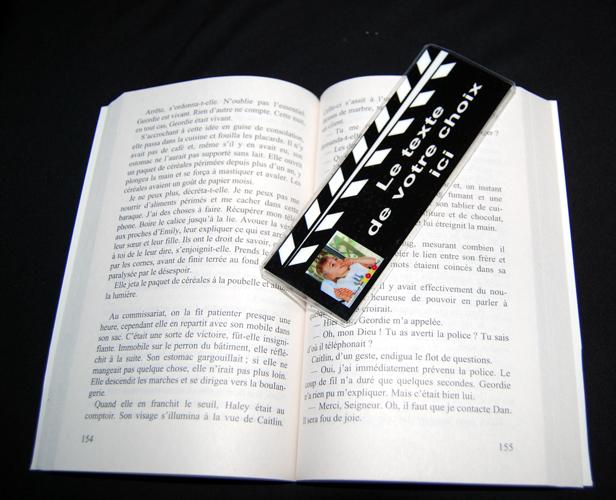 Marque pages personnalisé clap cinema 1 photo et texte de votre choix