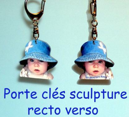 Porte-clés photo sculpté recto verso agda photo personnalisé