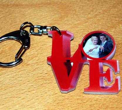 Porte-clés photo love agda photo personnalisé