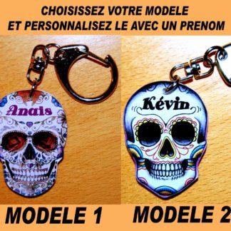 Porte-clés tête de mort crâne mexicain prenom agda photo