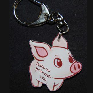 Porte-clés cochon prénom personnalisé agda photo