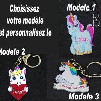Porte-clés licorne prenom personnalisé agda photo