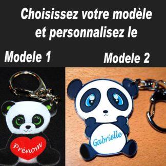 Porte-clés prénom panda personnalisé agda photo
