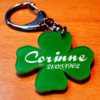 Porte-clés trèfle prénom personnalisé agda photo