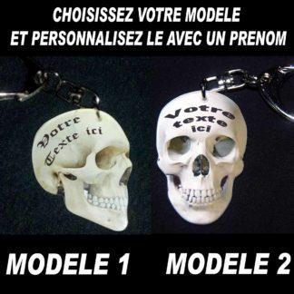 Porte-clés tête de mort personnalisé prénom avec agda photo
