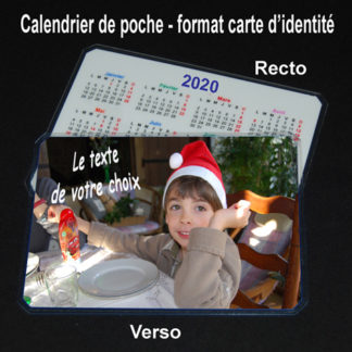 Calendrier de poche 2020 photo personnalisé