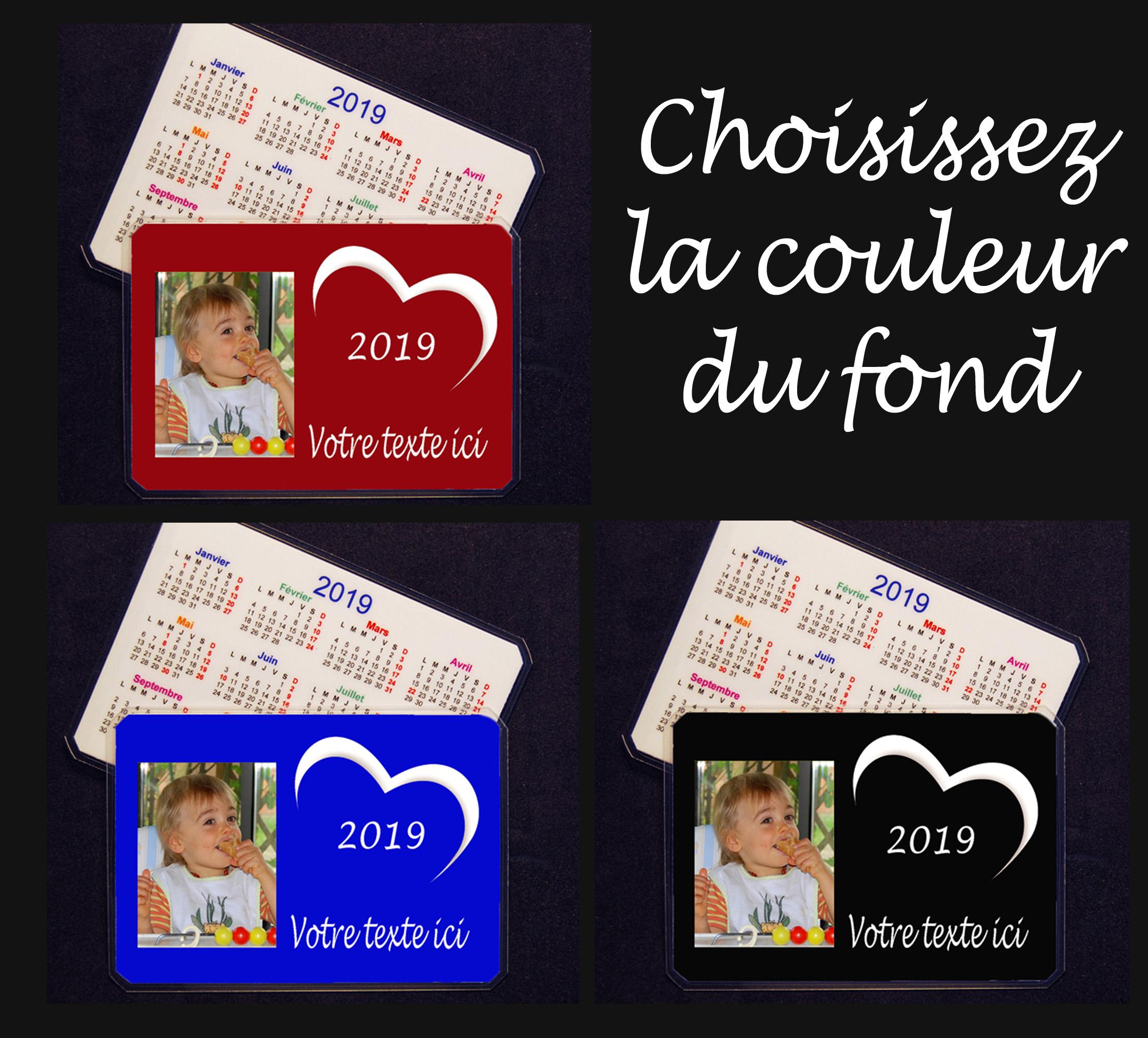 Calendrier De Poche 2019.Calendrier De Poche 2019 Personnalise Avec 1 Photo Texte Modele Coeur Fond Couleur