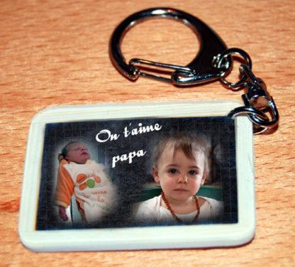 Porte-clés photo pele mele agda photo style ardoise ecolier personnalisé