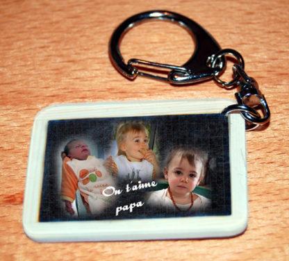 Porte-clés photo agda photo personnalisé style ardoise ecolier