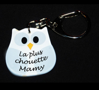 Porte-clés chouette Mamy blanche cadeau fête avec agda photo