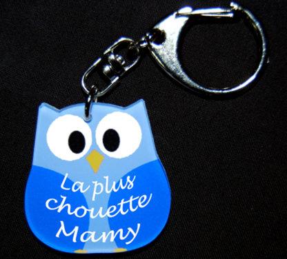 Porte-clés chouette bleue je t'aime mamy fete des grands mères avec agda photo