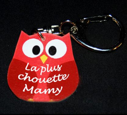 porte-clés cadeau fete grand mere chouette rouge avec agda photo