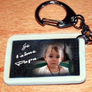 Porte-clés photo agda photo personnalisé style ardoise d'écolier