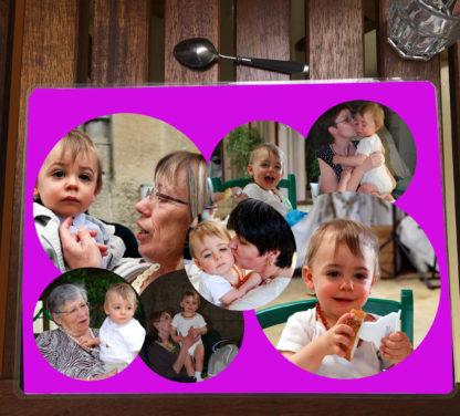 set de table bulles photos agda photo fond magenta