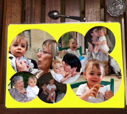 set de table agda photo personnalisé fond jaune