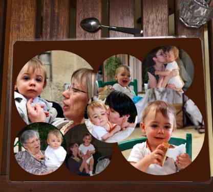 Set de table photo personnalisé fond marron agda photo