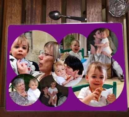 Set de table mauve photos personnalisées agda photo