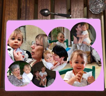 Set de table rose personnalisé photos pele mele agda photo