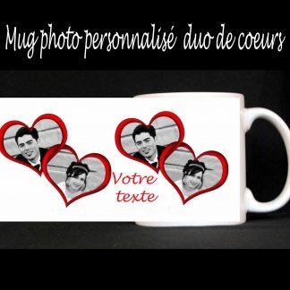 Mug photo personnalisé duo coeurs agda photo