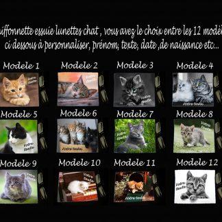 Essuie lunettes photo de chat personnalisée prenom agda photo