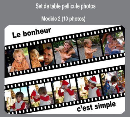 Set de table pellicule 10 photos personnalisé agda photo