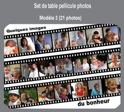 Set de table personnalisé pèle mèle pellicule photo agda photo