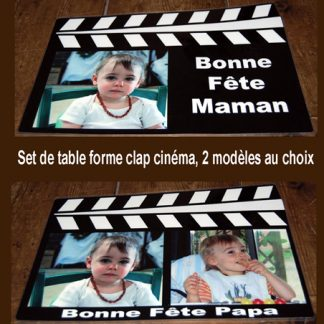Set de table personnalisé clap cinema agda photo