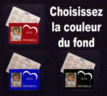 Calendrier de poche photo personnalisé 2021 coeur agda photo