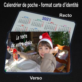 Calendrier de poche photo personnalisé 2021 agda photo