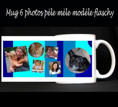 Mug à personnaliser avec 6 photos pèle mèle avec agda photo