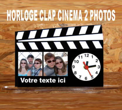 Horloge photo personnalisee clap cinema avec agda photo
