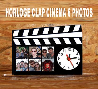 Horloge photos personnalisée clap cinema avec 6 photos par agdaphoto
