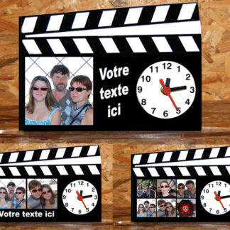 Horloge personnalisee photos style clap cinéma agda photo