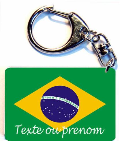 Porte-clés drapeau Brésil prenom personnalisé agda photo