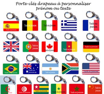 Porte-clés drapeau personnalisé prenom avec agda photo
