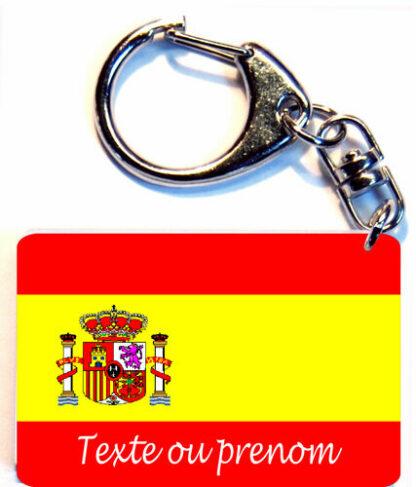 Porte-clés drapeau Espagne prenom personnalisé agda photo