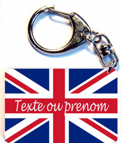 Porte-clés drapeau Royaume Uni prenom personnalisé agda photo