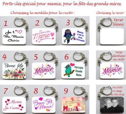 Porte-clés cadeau personnalisé mamie avec agda photo pour fête des grands mères