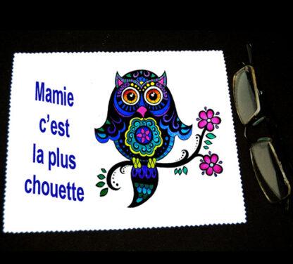 Chiffon essuie lunettes chouette mamie pour cadeau fête des grands mères avec agda photo