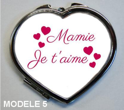 cadeau je t'aime mamie pour fete des grands mère avec ce miroir de poche proposé par agda photo