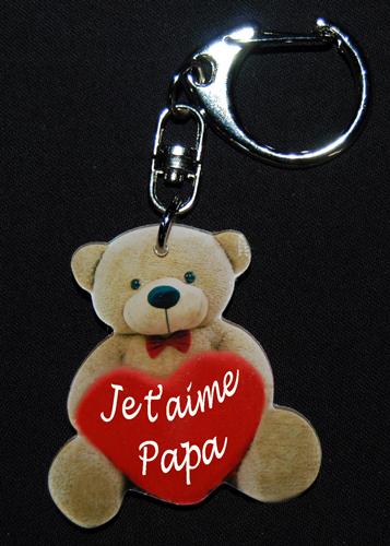 Porte-clés ourson marron fête des père avec message je t'aime papa avec agda photo