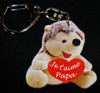 Porte-clés herisson fête des père avec message je t'aime papa avec agda photo