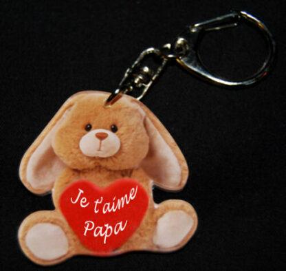 Porte-clés lapin fête des père avec message je t'aime papa avec agda photo