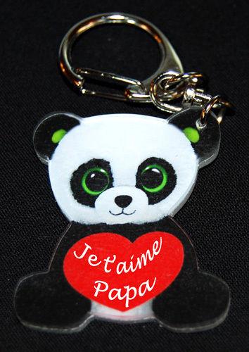 Porte-clés panda fête des père avec message je t'aime papa avec agda photo