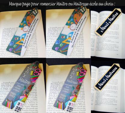 Marque pages pour remercier le Maître ou la Maîtresse d'école en cette fin d'année scolaire cadeau avec agda photo