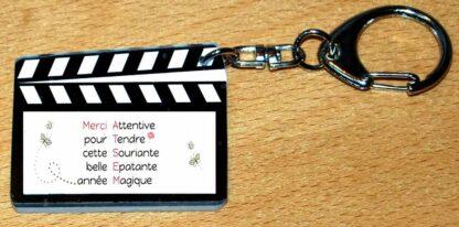 Porte-clés merci atsem style clap cinéma avec agda photo