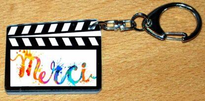 Porte-clés pour dire simplement merci avec agda photo forme clap cinéma