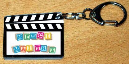 Cadeau Maitre porte-clés clap cinéma avec agda photo