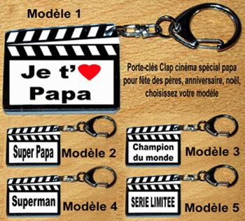 Porte-clés fêtes des pères style clap cinéma cadeaux pour papa avec agda photo